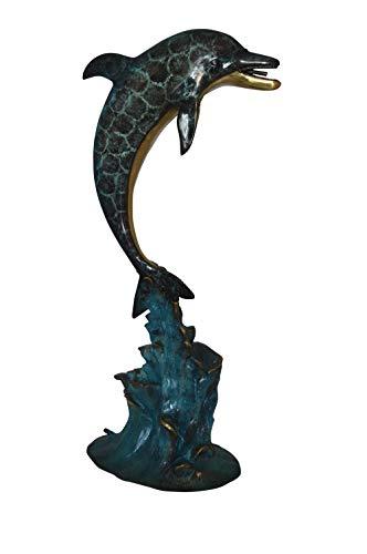(Single Dolphin Fountain Bronze Statue - Size: 22