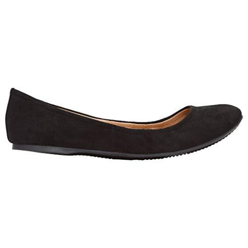 (Rohb by Joyce Azria Corsica Round Toe Ballerina Flat (Black) Size 6.5)