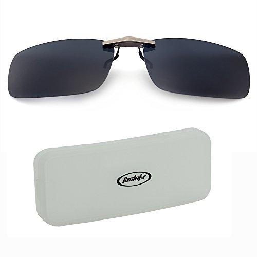 Tacloft Unisex Rectangle 57mm Polarized Clip on Sunglasses CLIPON2015 Grey