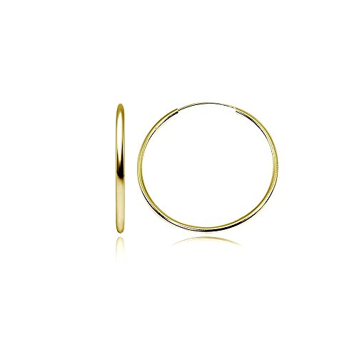 Yellow Gold Flashed Sterling Silver Medium Large Endless 2x40mm High Polished Round Lightweight Unisex Hoop Earrings (1 3/5 Inch) (Two Polished Metal High)