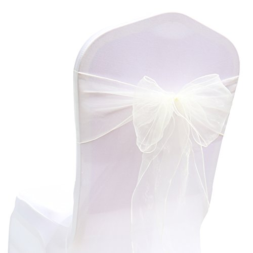 BITFLY 25PCS 18cm x 275cm Chair Organza Chair Sashes Bow For Wedding Party Birthday Banquet Events Supplies Chair Cover Sash Decoration 30 Colors Available ivory (Birthday Cover)