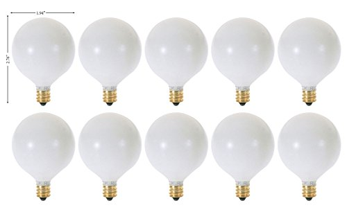 (Pack of 10) G16.5 Decorative (E12) Candelabra Base Globe Shape 120V G16 1/2 Light Bulbs (White, 60 Watt) ()