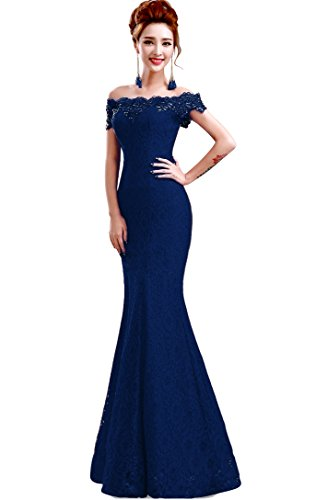 Babyonlinedress off shoulder lace Navy blue mermiad bridesmaid dress size 6