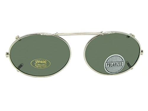 Oval Polarized Clip On (Silver Frame-Gray Lenses, 49mm Width x 36mm - Sunglasses Clip Oval On