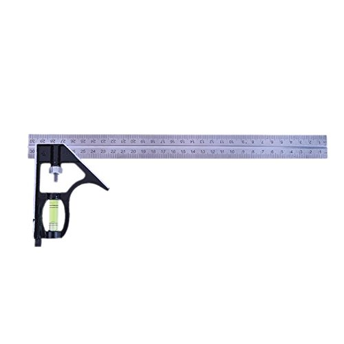 300mm(12'') Adjustable Engineer Combination Try Square Set Right Angle Ruler for Wood Working Accessories (Wood Ruler 12')