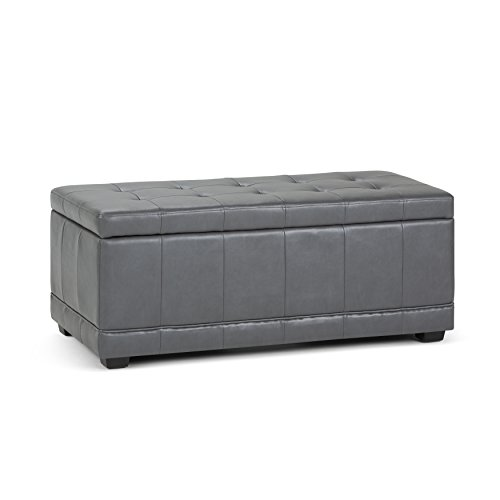 WyndenHall Norwood Storage Ottoman Bench Stone Grey Faux Leather, Wood, Foam by Wynden Hall