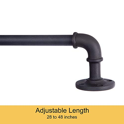 "Kenney Adler Indoor/Outdoor Rust-Resistant Wrap Around Curtain Rod 28-48"" Black"