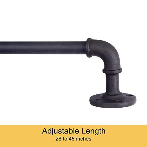 "Kenney Adler Indoor/Outdoor Rust-Resistant Wrap Around Curtain Rod 28-48"" Black"