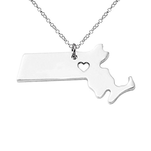 Joyplancraft Massachusetts State Necklace,Personalized MA State Shaped Necklace With A Heart (Silver)