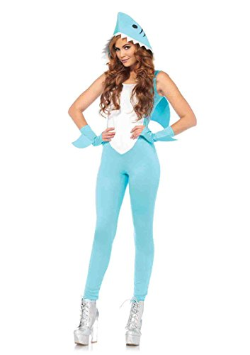 Shark Land Costumes (3pc. Deadly Land Shark Shark Catsuit Costume Bundle with Pink)