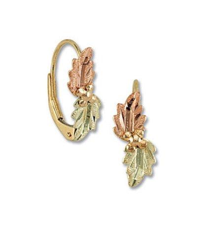 Landstroms 10k Black Hills Gold Leverback Earrings with Leaves - G LER374 -