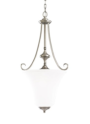 Sea Gull Lighting 51380-965 3-Light Hall and Foyer Fixture, Satin Etched Glass Shade and Antique Brushed Nickel (Parkview Light 965 3)
