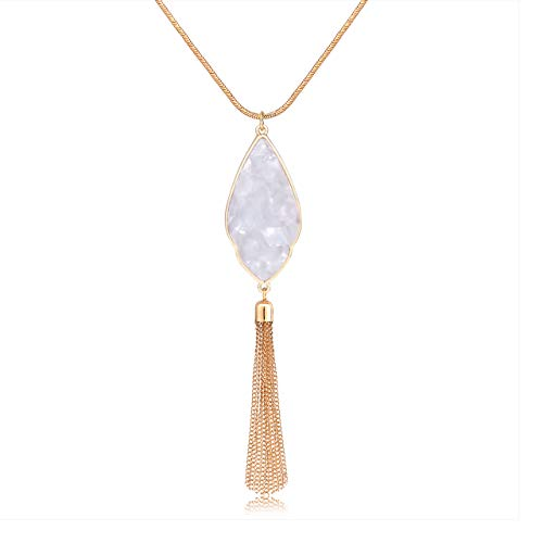 - Long Necklaces for Women Statement Arrowhead Acrylic Pendant Necklaces Boho Tassel Y Necklace Fashion Jewelry (White)