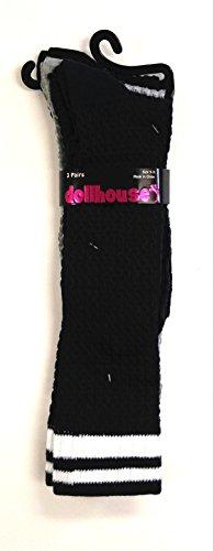 (Set of 3 Pairs of Dollhouse Knee High Socks (navy, gray, black) )