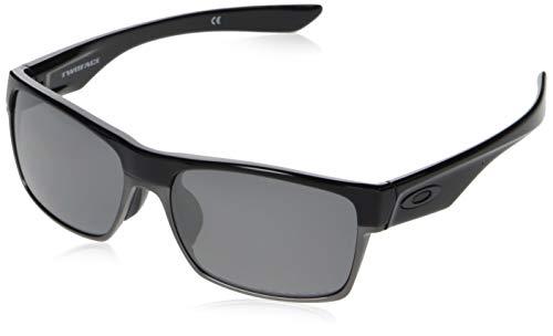Oakley Men's OO9256 TwoFace Asian Fit Rectangular Sunglasses, Polished Black/Black Iridium Polarized, 60 ()