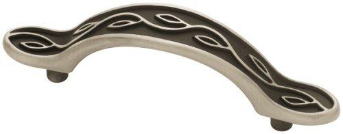 Mission Pattern Leaf (Leaf Pattern Brushed Satin Pewter & Black Drawer Pull Centers: 3