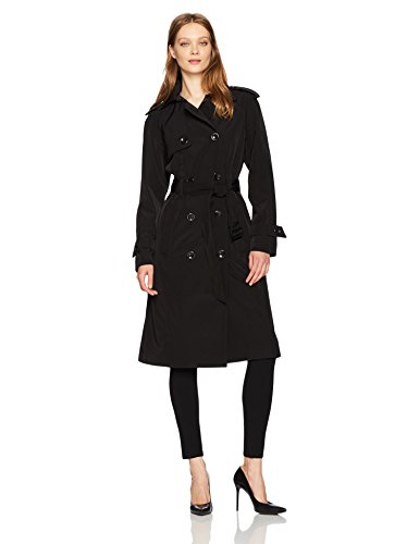 (London Fog Women's 3/4 Length Double-Breasted Trench Coat with Belt, Black, M)