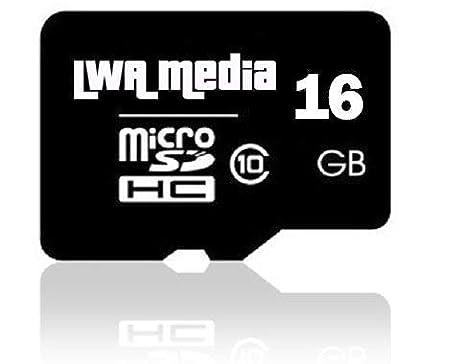 LWA Media - Tarjeta de memoria Flash Micro-SD de 16 GB (Clase 10 - velocidad rápida) Grabación de vídeo Full HD, actualización perfecta de la memoria ...