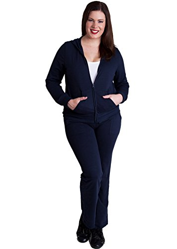 Ladies Navy Blue Plus Size Zip-up Hoodie & Drawstring Sweatpants Set