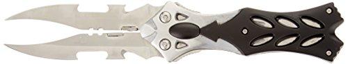 Master Cutlery C-289SB Fantasy Folding Knife, Twin Satin Blades, Black/Silver Aluminum Handle, 5-Inch Closed