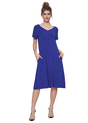 - Weintee Women's T-Shirt Dress V-Neck Casual Dress with Pockets 2X Royal Blue