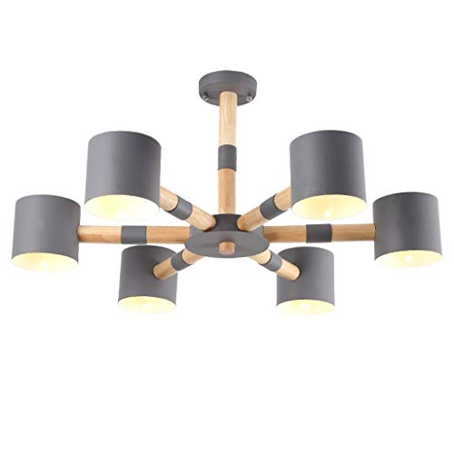 CCF Lamp Living Room Chandelier Home Solid Wood Bedroom Lamp Restaurant Lamp Hall Light CCFV (Color : Gray) - Natural Finish Rust Chandeliers