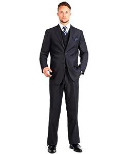 B00GMRB11C Carlo Lusso Mens Suit 2 Button 3 Piece Modern Fit with Vest 50R Black