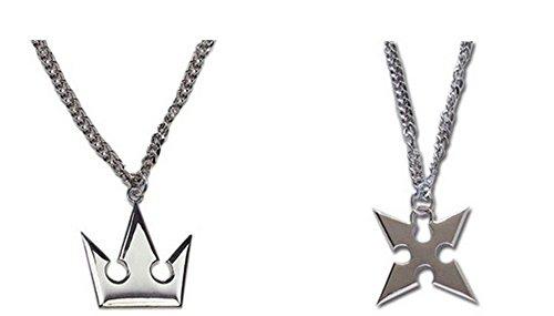 2 pcs Set ~ Kingdom Hearts Sora's Crown & Roxas's Cross Necklaces