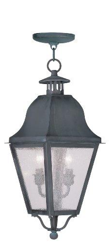 Livex Lighting 2546-61 Amwell 2-Light Outdoor Hanging Lantern, Charcoal