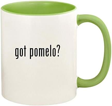 got pomelo? - 11oz Ceramic Colored Handle and Inside Coffee Mug Cup, Light Green