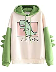 Lucakuins Womens Cartoon Animal Print Hoodie, Cute Dinosaur Long Sleeve Color Block Sweatshirt for Ladies Teens Girls