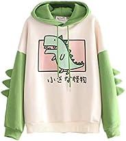 Lucakuins Womens Cartoon Animal Print Hoodie, Cute Dinosaur Long Sleeve Color Block Sweatshirt for Ladies Teen