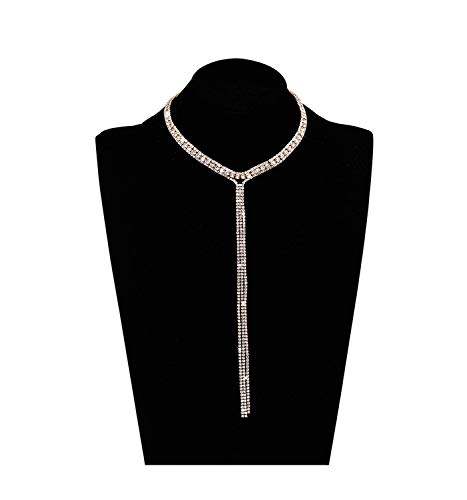 LIAO Jewelry 3 Row Rhinestone Choker Necklace Crystal Tassel Wide Collar Necklaces Gothic Diamond Charms for Women Girls (Gold)