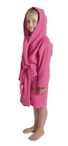 Aumsaa Girls children Dressing Gown Hooded Towelling Bathrobe 100% Cotton Terry Towel Bath Robe Soft Lounge Wear 7-13 Years (Pink, 13 Years)