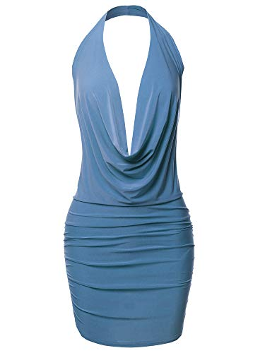 Made by Emma Sexy Halter Neck Ruched Bodycon Backless Party Cocktail Mini Dress Denim Blue L