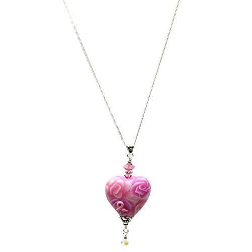 Breast Cancer Rose - Artisan Breast Cancer Survivor Heart Pendant Sterling Silver Chain Necklace 18