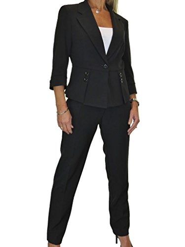 Fully Lined Washable Designer Look Business Office Trousers Suit Black 4-16 (Fully Lined Pant Suit)
