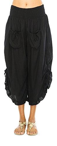 Bali Bow (Pants Crop Ruffle Hem Black L/XL)