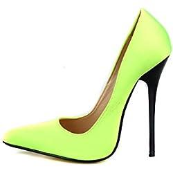 Fanatical-Night Pointed Toe Sexy High Heels Women Pumps 13CM Women Shoes,Yellow Green,8.5