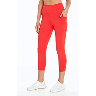 Bally Total Fitness High Rise Pocket Mid-Calf Legging, Hibiscus, Large