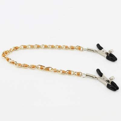 Fetish Pleasure Play Nipple Clamps w/Chain and Gold Pearls