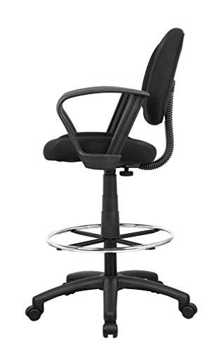 Boss Office Products B1617-BK Silla de dibujo ergonómica con brazos de bucle en negro