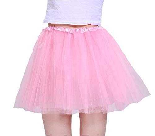 Women's Athletic Tutus Elastic 4 Layered Tulle Tutu Skirt | Colorful Running Skirts | One Size Fits Most (Pink)]()