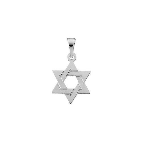 (IceCarats 14K White Gold Star Of David Pendant 14.00X12.00 mm)