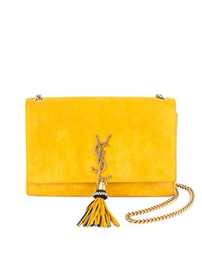 Saint Laurent Monogram YSL Medium Suede Wallet on a Chain Made in Italy