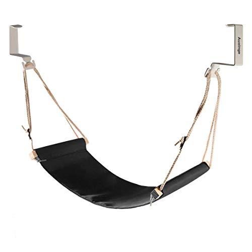 Auoinge Canvas Foot Rest Hammock, Adjustable Mini Foot Rest Stand Under Desk Home Office ... (Black) (Table Hammock)