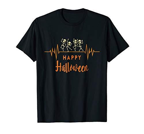 Skeleton Heartbeat Happy Halloween T-Shirt Doctor Or Nurse