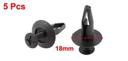 sourcingmap 5 Pcs 7mm Hole Black Push in Car Door Trim Fastener Plastic Rivets