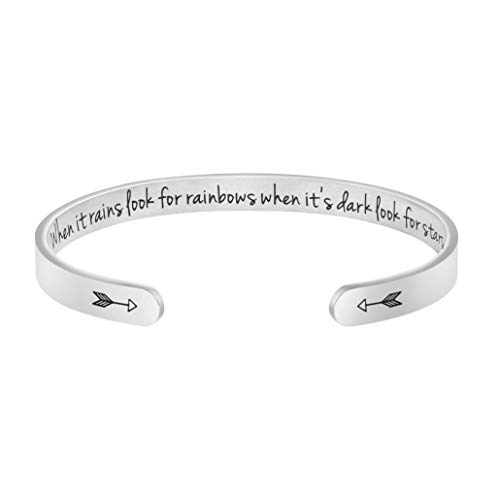 Joycuff Sympathy Gift for Her Motivating Jewelry When It Rains Look for Rainbows When Its Dark Look for Stars Bracelet