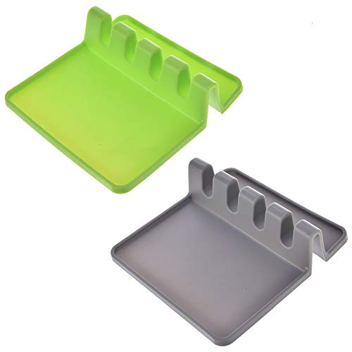 ilicone Spoon Rests for Kitchen Spoon Holder Utensil Rest Ladle Spoon Holders Cooking Storage Decor Tool Stand Gray & Green ()